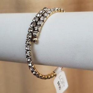 LOFT Gold Rhinestone Coil Bangle Bracelet #703